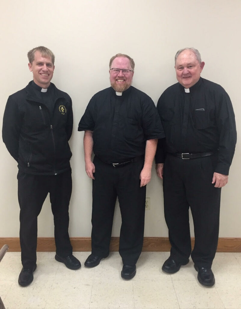 The current postulators of the Cause for Canonization of Servant of God Bishop Simon Bruté are Father Joe Newton, left, Father Tony Hollowell and Monsignor Fred Easton from the Archdiocese of Indianapolis. Photo by Zoe Canon/Special to The Message