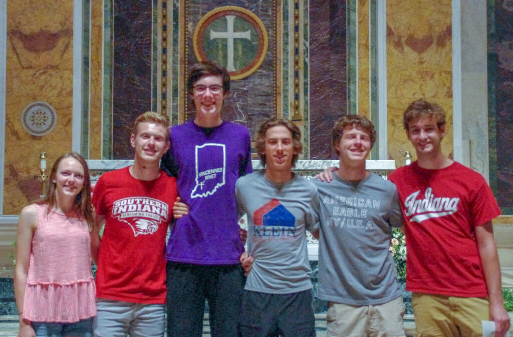 The group attended Mass in the Cathedral of St. Matthew the Apostle. Shown are Savannah Cook, left, Noah Donovan, Grant Freeman, James Hancock, Cedric Schleiss and Jack Whitsett. Submitted photo