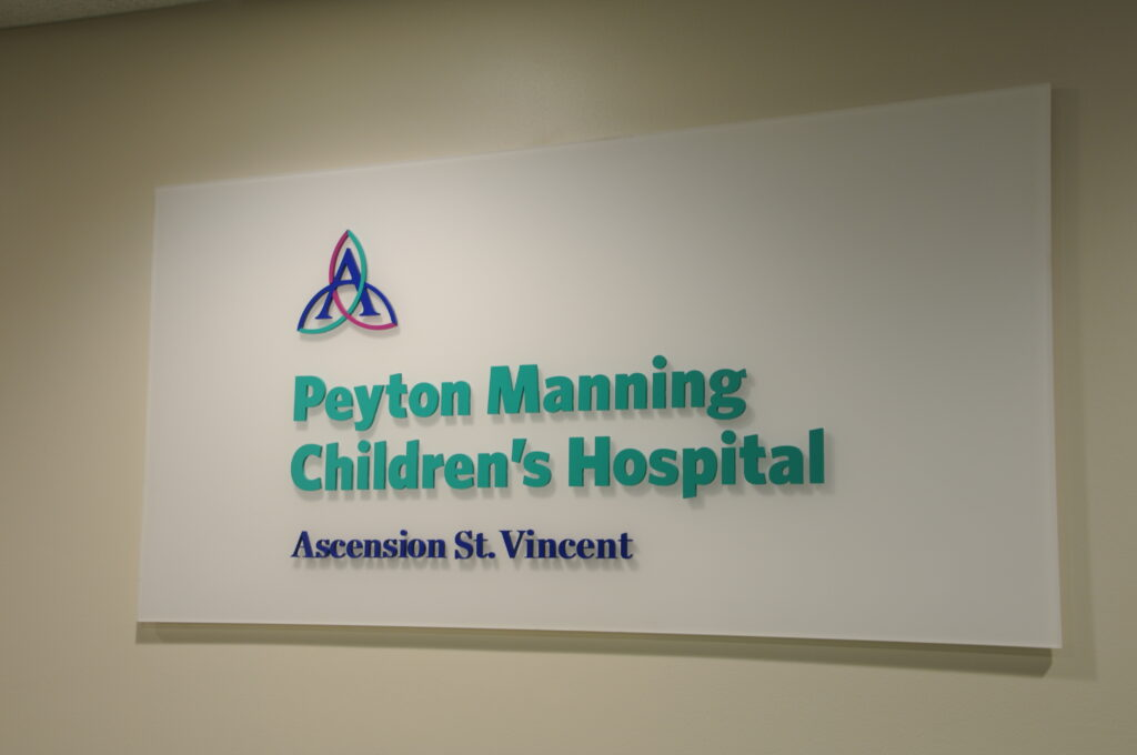 New sign outside the Peyton Manning Children's Hospital Emergency Room for Children at St. Vincent Evansville
