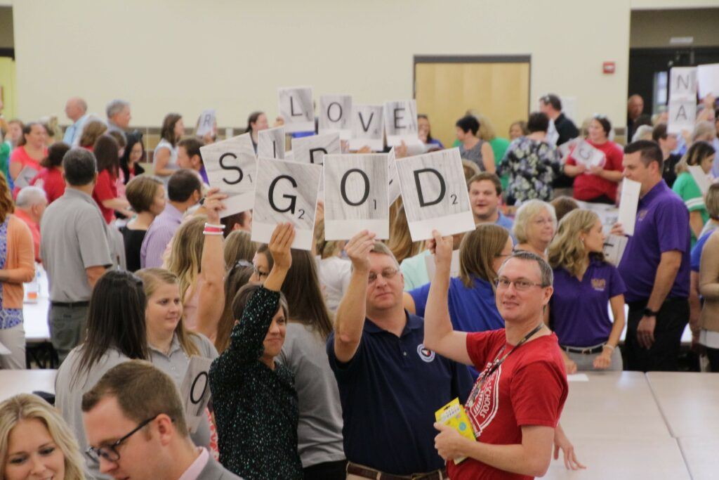 More than 500 Catholic teachers and administrators played an ice-breaker game: What's my word? during the 2019-2020 Back-to-School gathering at Good Shepherd Parish.