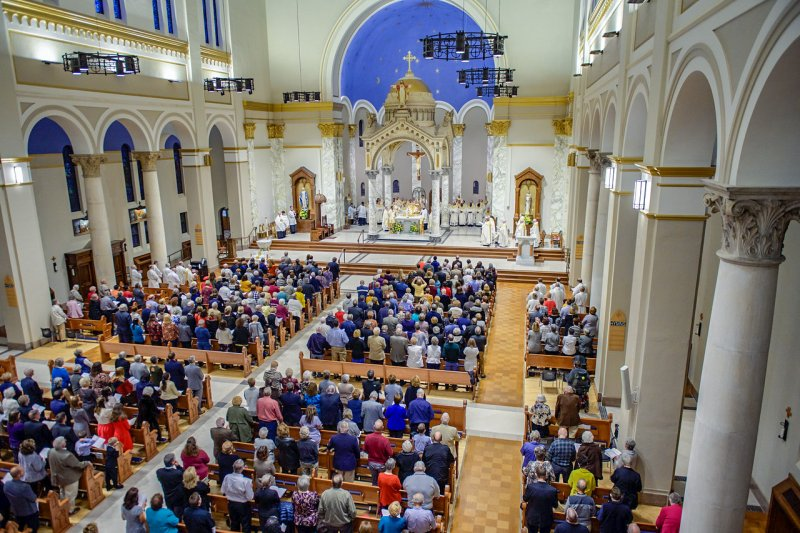 Bishop Joseph M. Siegel dedicated the renovated St. Benedict Cathedral and kicked off the celebration of the Diocese of Evansville's 75th Anniversary during a Nov. 6 Mass at the cathedral.  The Message photo by Jay Hamlin