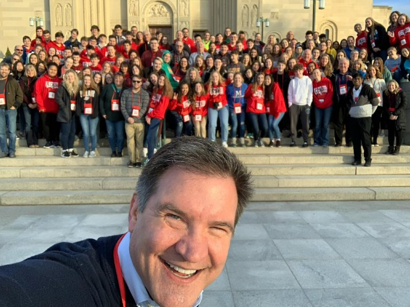 Diocesan Director of Youth and Young Adults Steve Dabrowski took this selfie with our pilgrims in front of the Basilica of the National Shrine of the Immaculate Conception on Jan. 26.