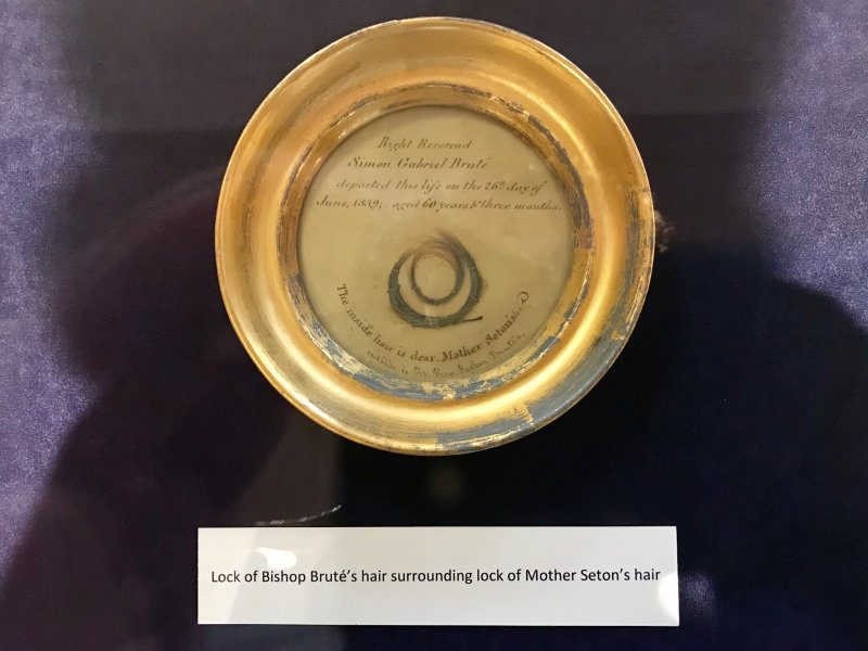 During their trip, our pilgrims visited several monuments in Washington, the Gettysburg National Battlefield and the Shrine of St. Elizabeth Ann Seton. There, Father Jason Gries took this photo of first-class relics of St. Elizabeth Ann and her spiritual director, Servant of God Bishop Simon Bruté. A lock of Bishop Bruté's hair surrounds a lock of St. Elizabeth Ann's hair. Photo by Father Jason Gries, special to The Message