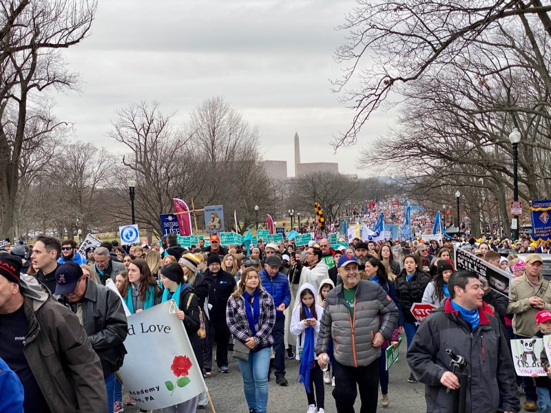 This photo shows thousands of marchers walking toward Capitol Hill during the 47th annual March for Life. Photo by Father Jason Gries, special to The Message
