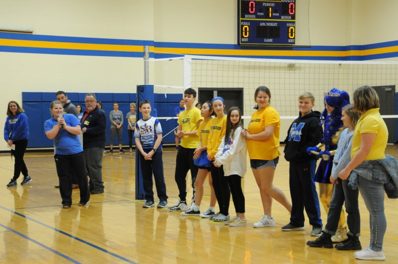 The Top Ten finalists of the SJB Shake competition stand before their peers before the winners are announced during a schoolwide assembly on Jan. 30. The Message photo by Megan Erbacher