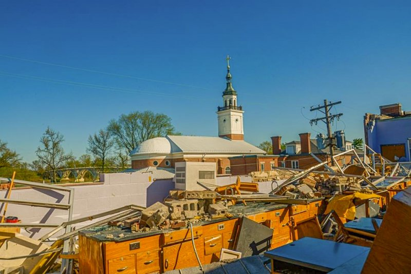 An April 8 severe storm significantly damaged Rivet's third-floor science room where straight-line wind tore through a brick wall and ripped the roof off.   Submitted photo