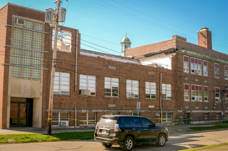 A view of Rivet High School where a brick wall and the roof are missing in the third-floor science room after an April 8 severe storm. The Message photo by Kevin Kilmer