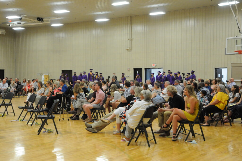 The Highland Woods Community Center provided plenty of space to socially-distance families and students for Rivet's 2020 graduation. The Message photo by Megan Erbacher
