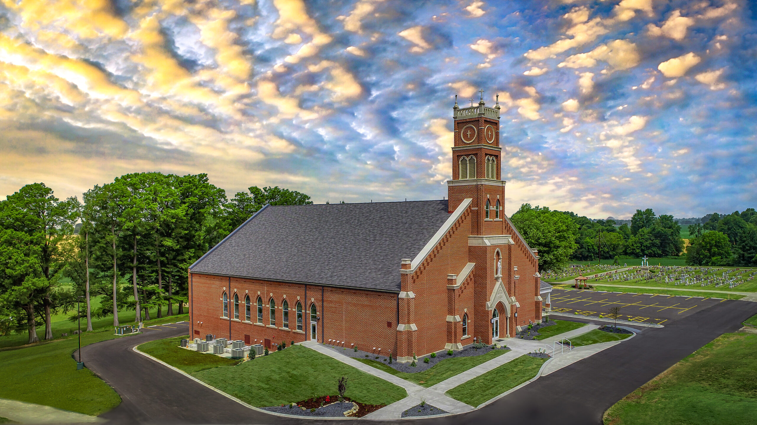 Following the June 28 Dedication Mass for the new St. Mary Church in Ireland, Brescher Filming & Photography, LLC, of Jasper flew its drone to get some aerial photos of the new church under the light of a setting sun. The Message gratefully acknowledges their help in covering the Dedication Mass, which we featured in our July 3 issue. Photo by Brescher Filming & Photography, LLC, special to The Message
