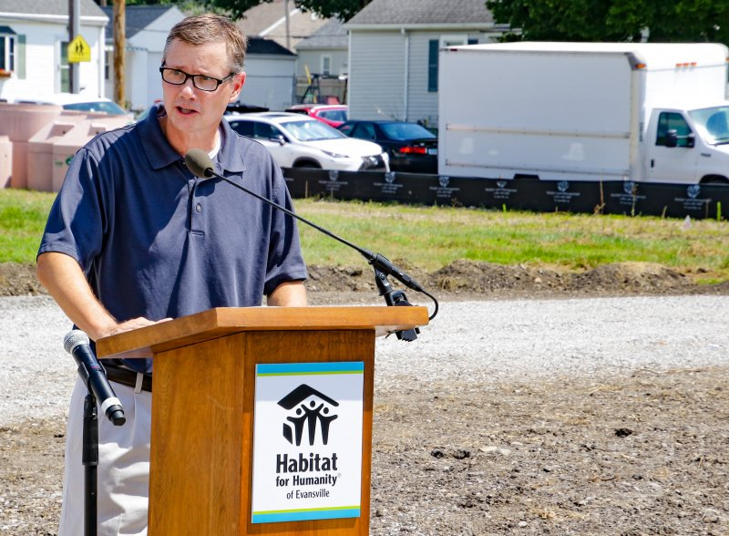 Former St. Theresa parishioner Dan Diehl gives a brief history of the parish during the Aug. 10 blessing and groundbreaking for St. Theresa Place. The Message photo by Tim Lilley