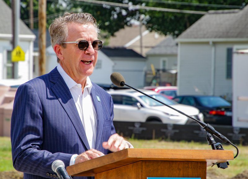 Evansville Mayor Lloyd Winnecke, a son of Evansville's north side, talks about St. Theresa Place and its significance to the city. The Message photo by Tim Lilley