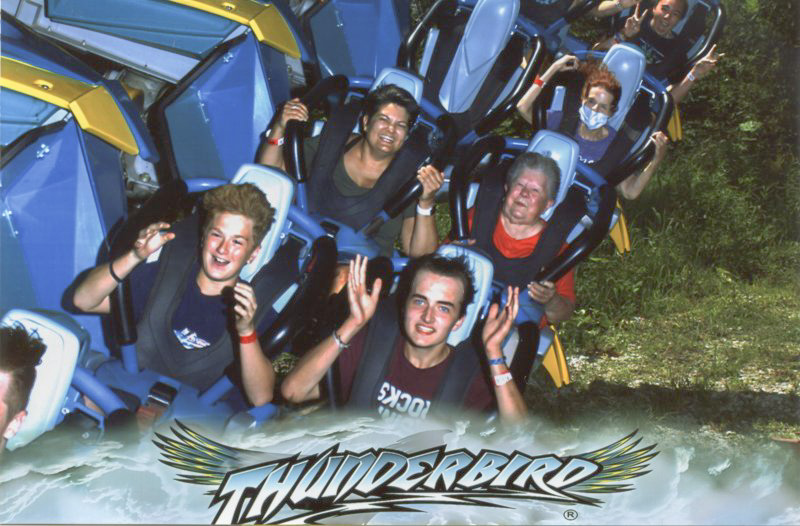 Message subscriber Eleanor Lasher, 95, of Evansville, won a pair of tickets to Holiday World and Splashin' Safari in our annual giveaway. Her granddaughter, Dawn Stevenson, wrote to us and sent along these photos of Eleanor taking a 'Bucket List' ride on the Thunderbird rollercoaster – her first-ever rollercoaster ride! Submitted photo courtesy of Dawn Stevenson