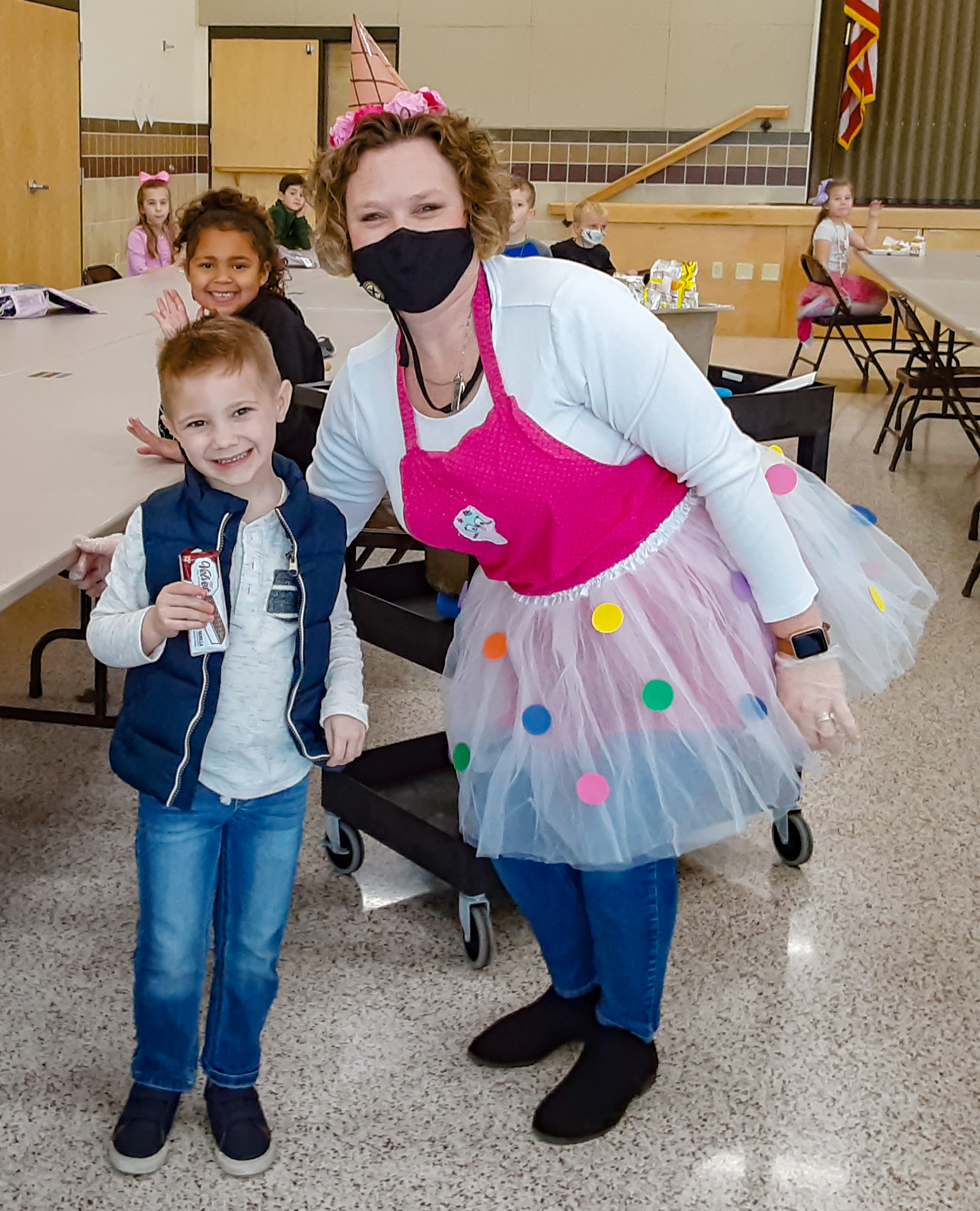 During the Jan. 31-Feb. 6 celebration of National Catholic Schools Week, Good Shepherd School Principal Kristen Girten passed out ice cream to all the students during lunch to thank them for a fantastic school year. Submitted photo