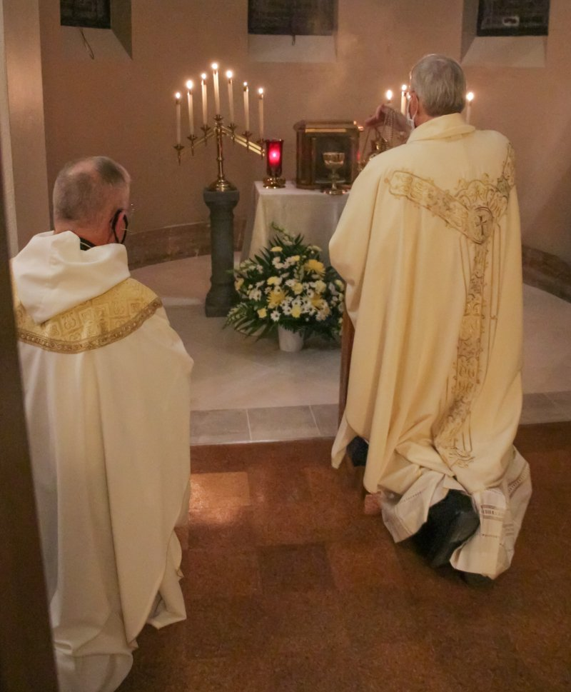 The bishop incenses the Blessed Sacrament and the place of reposition. The Message photo by Tim Lilley