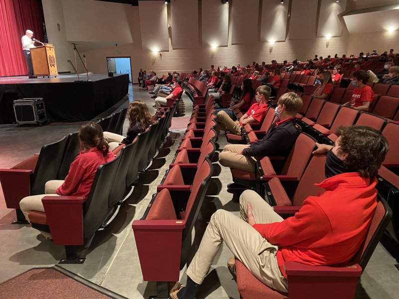 Mater Dei students listen to Indiana Republican Sen. Jim Tomes, far left,  during an April 28 Celebrate Life Day assembly. The Message photo by Megan Erbacher