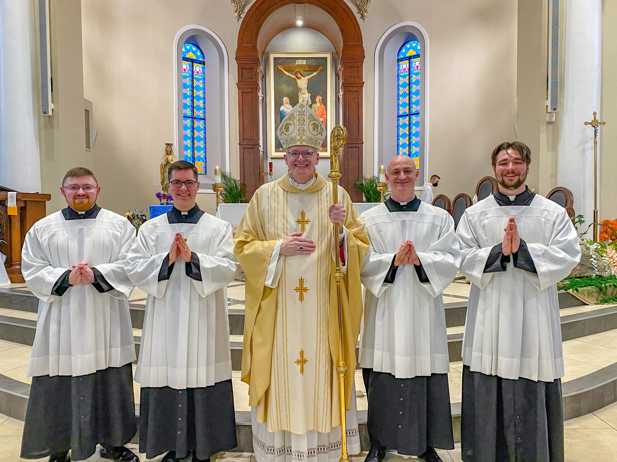 Bishop Joseph M. Siegel celebrated a Mass of Candidacy on May 6 for four Diocese of Evansville seminarians, formally recognizing them as candidates for ordination to the priesthood. Shown after the Mass hosted by Christ the King Parish's St. Ferdinand Church in Ferdinand, are Seminarian Nick Biever, a son of Annunciation Parish of Evansville; Seminarian Philip Rogier, a son of Christ the King Parish; Bishop Siegel, Seminarian Clint Johnson, a son of Holy Cross Parish in Fort Branch; and Aaron Herrenbruck, a son of St. Clement Parish in Boonville. Rogier begins Second Theology this fall. Biever, Herrenbruck and Johnson begin First Theology in the fall. Submitted photo