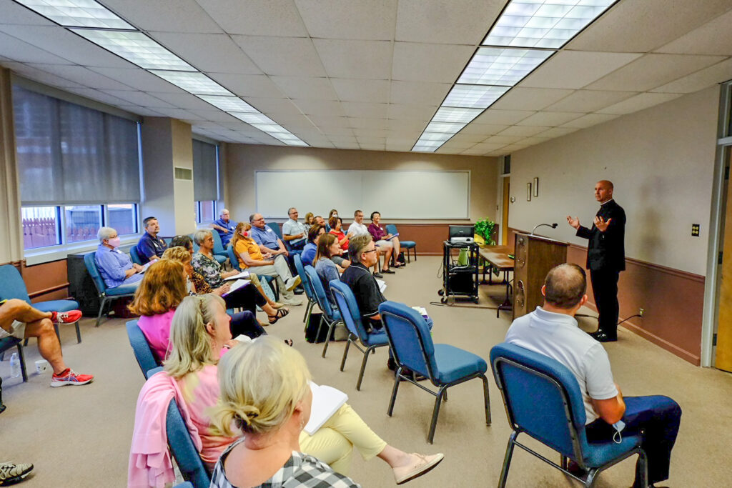 Father Alex Zenthoefer, Diocese of Evansville Vicar General and Pastor of Sts. Mary and John Parish in Evansville, leads the breakout session on letting the liturgy come alive. Photo by Joe Falcony, special to The Message