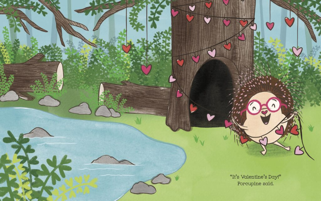 """Interior spread of Porcupine in the forest, with text, """"It's Valentine's Day!"""""""