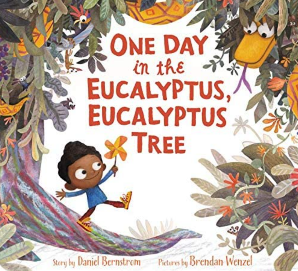 Book cover of One Day in the Eucalyptus, Eucalyptus tree, which shows a boy skipping, unaware of a snake hanging from a tree over his head.
