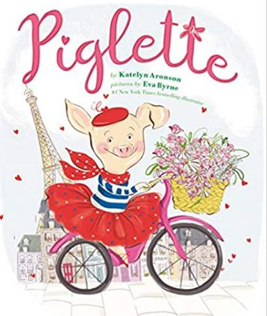 Book cover for Piglette: a small pig wearing a beret and riding a bicycle.