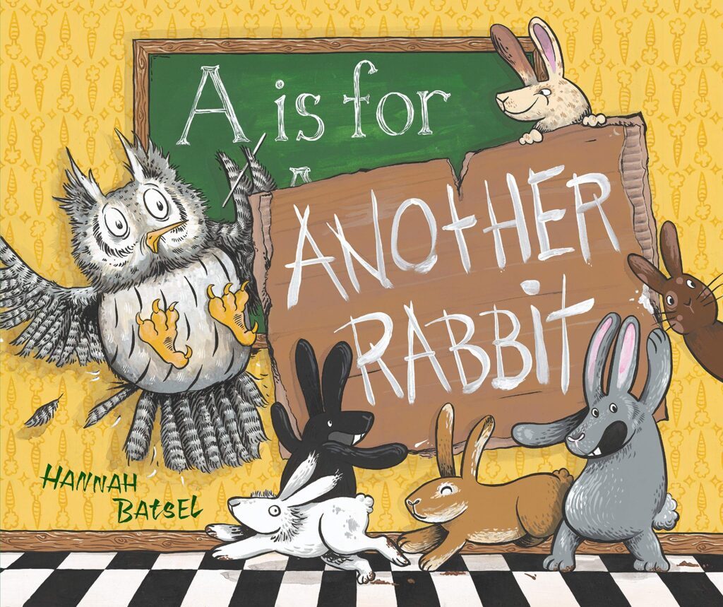 "Book cover of ""A is for Another Rabbit"", depicting several rabbits and one surprised owl."