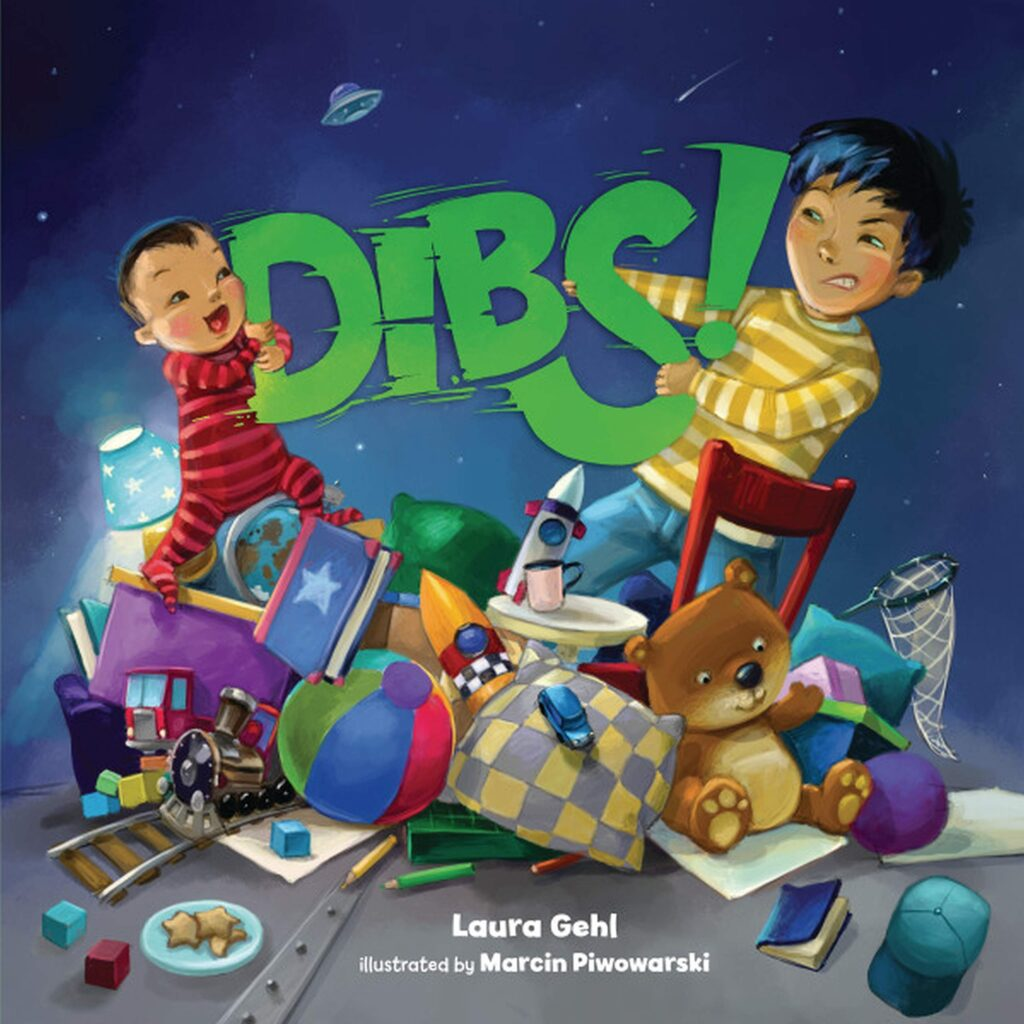 "Book cover of ""Dibs"", featuring two boys appearing to fight over various objects."