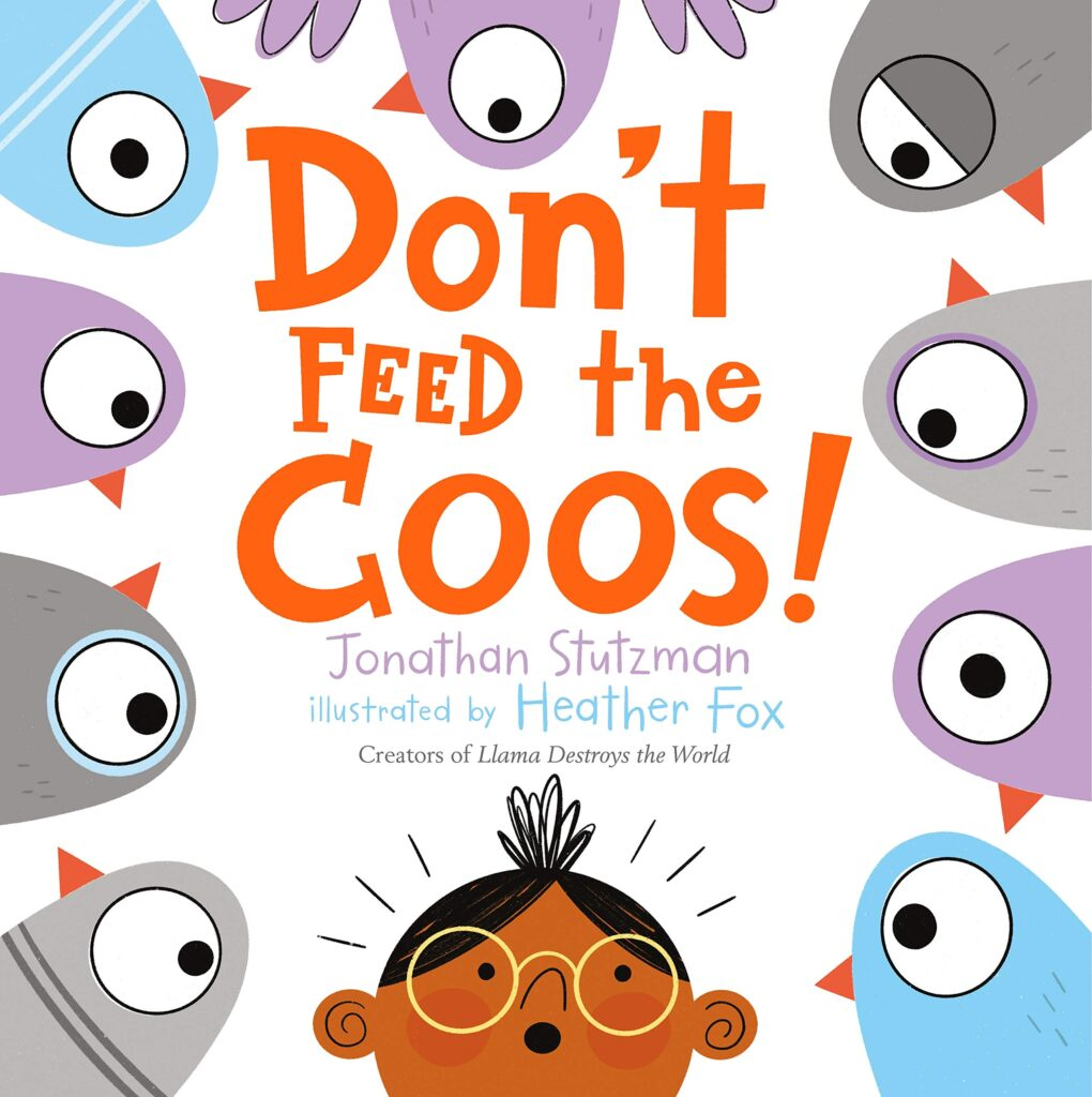 "Book cover: ""Don't Feed the Coos"". A person is looking up at several birds."
