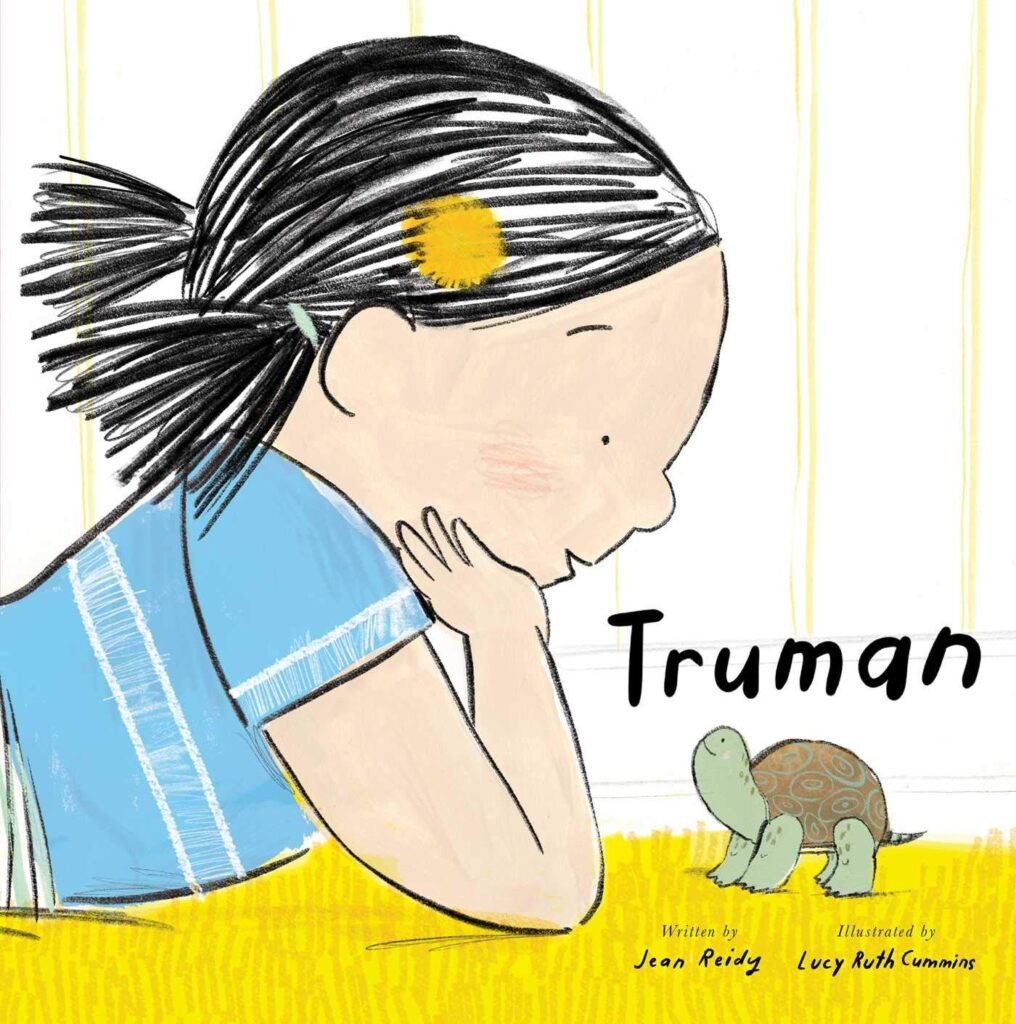 "Book cover for ""Truman"", featuring a girl looking down at a tiny turtle."