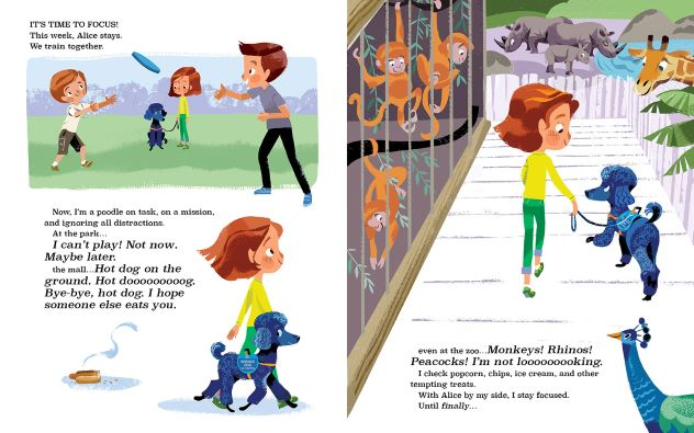 Interior spread of book, featuring Chewie attempting to avoid distractions while working with Alice.