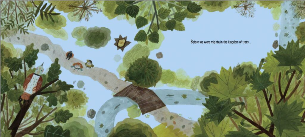 Interior spread from the picture book BEFORE WE STOOD TALL, showing an aerial view of children looking up at trees.