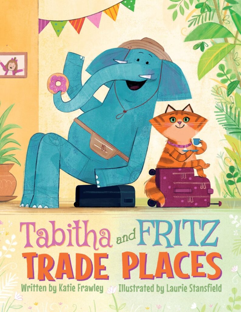 """Cover of the book """"Tabitha and Fritz Trade Places"""", featuring an elephant and an orange cat eating donuts."""