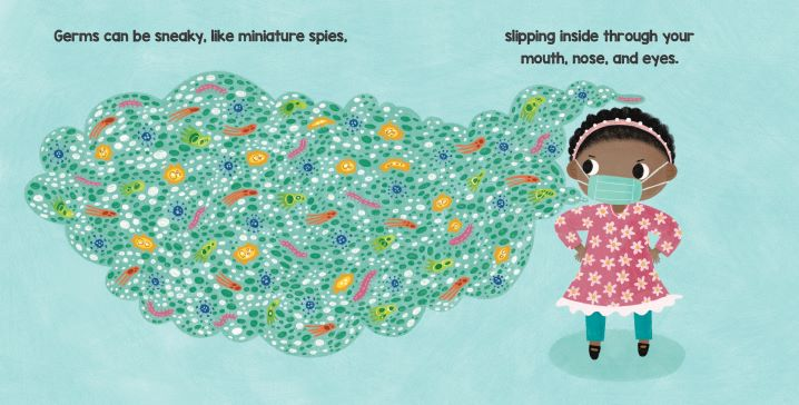 Interior spread from BRILLIANT BABY FIGHTS GERMS.