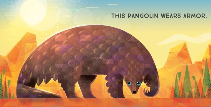 Interior spread from ODD BEASTS, depicting a pangolin.