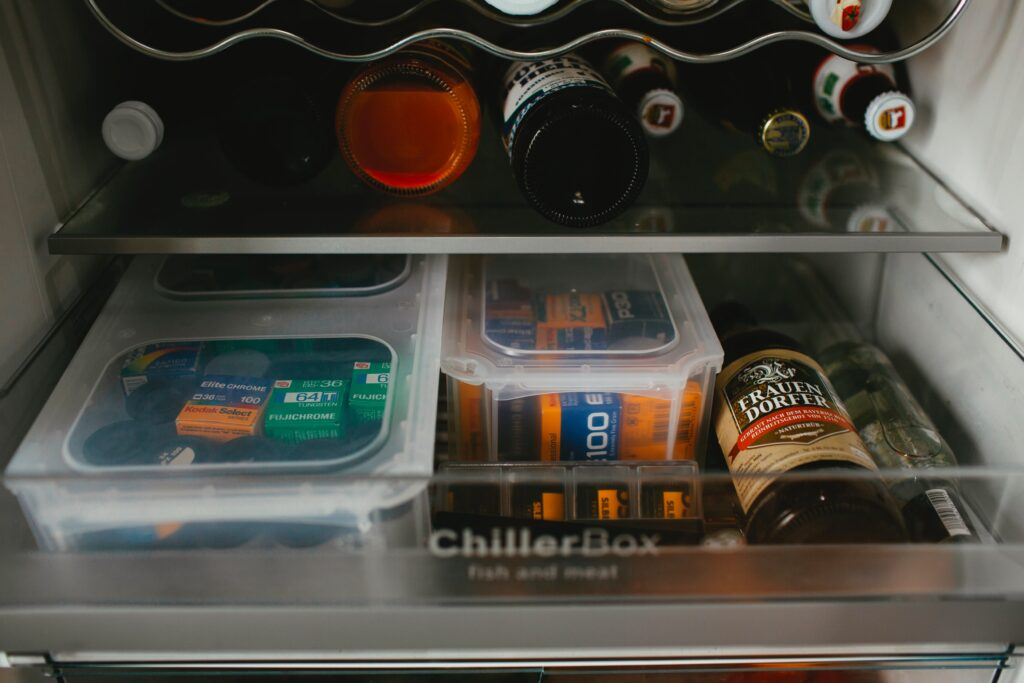 shelving inside a fridge.