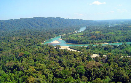 A landscape in the Selva Lacandona; to the left of the Lacantún River is the Montes Azules Biosphere Reserve.