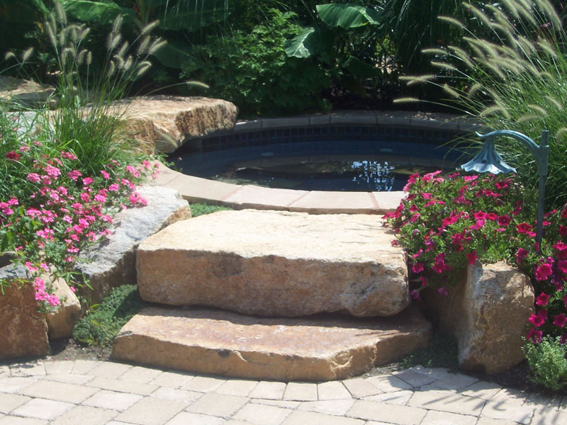 Custom Landscape Koi Pond with Natural Stone Stairs, Flanders NJ