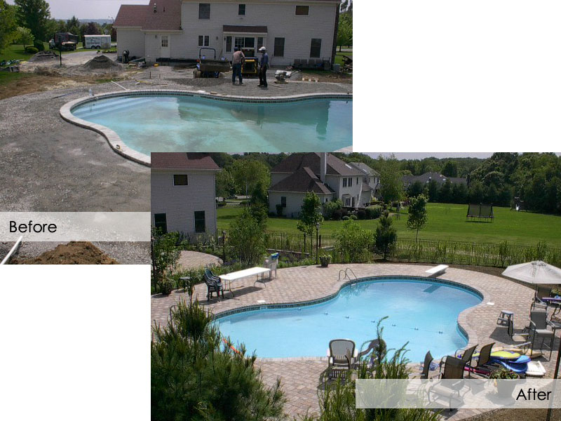 Outdoor Pool Landscape Before and After, Flanders NJ