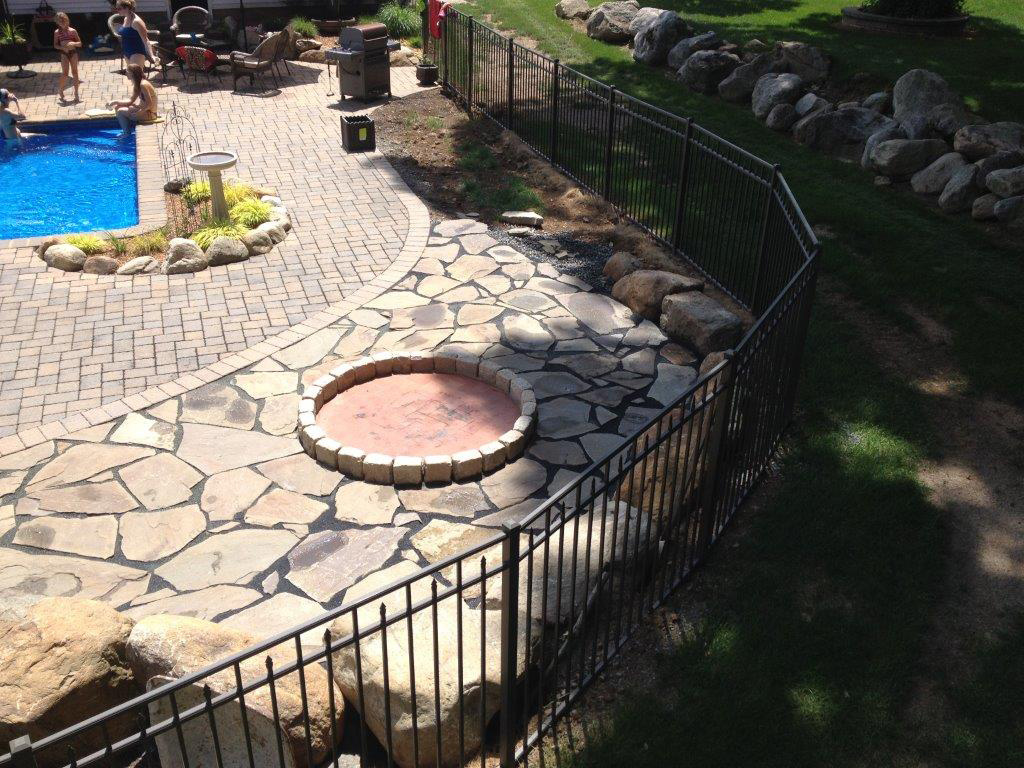 Paver Patio with a Custom Fire Pit, Hackettstown New Jersey