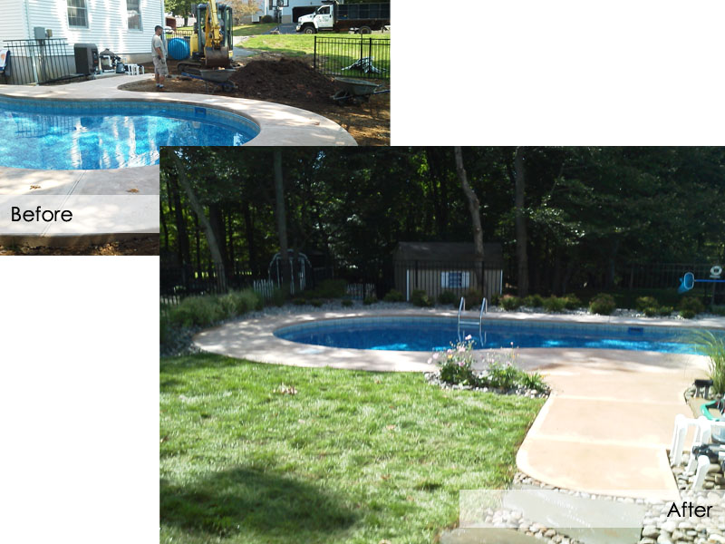 Poolscape Before and After Designing, Flanders NJ