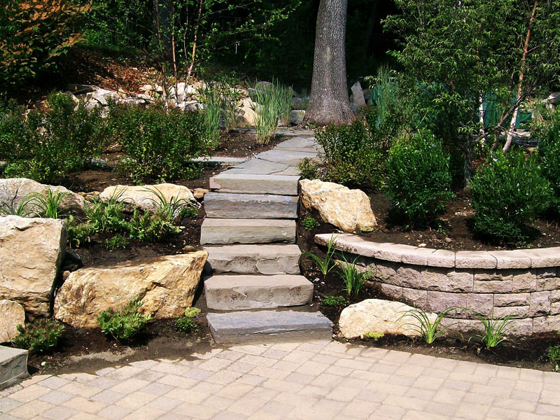 Custom Rock Stairs and Paver Patio, Mount Olive NJ