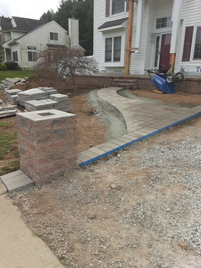 Pillars, Walkway and Front Paver Porch Install – Chester NJ