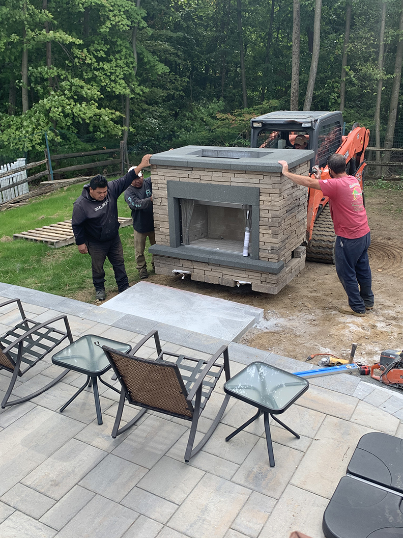 Outdoor Fireplace Install – Mendham NJ