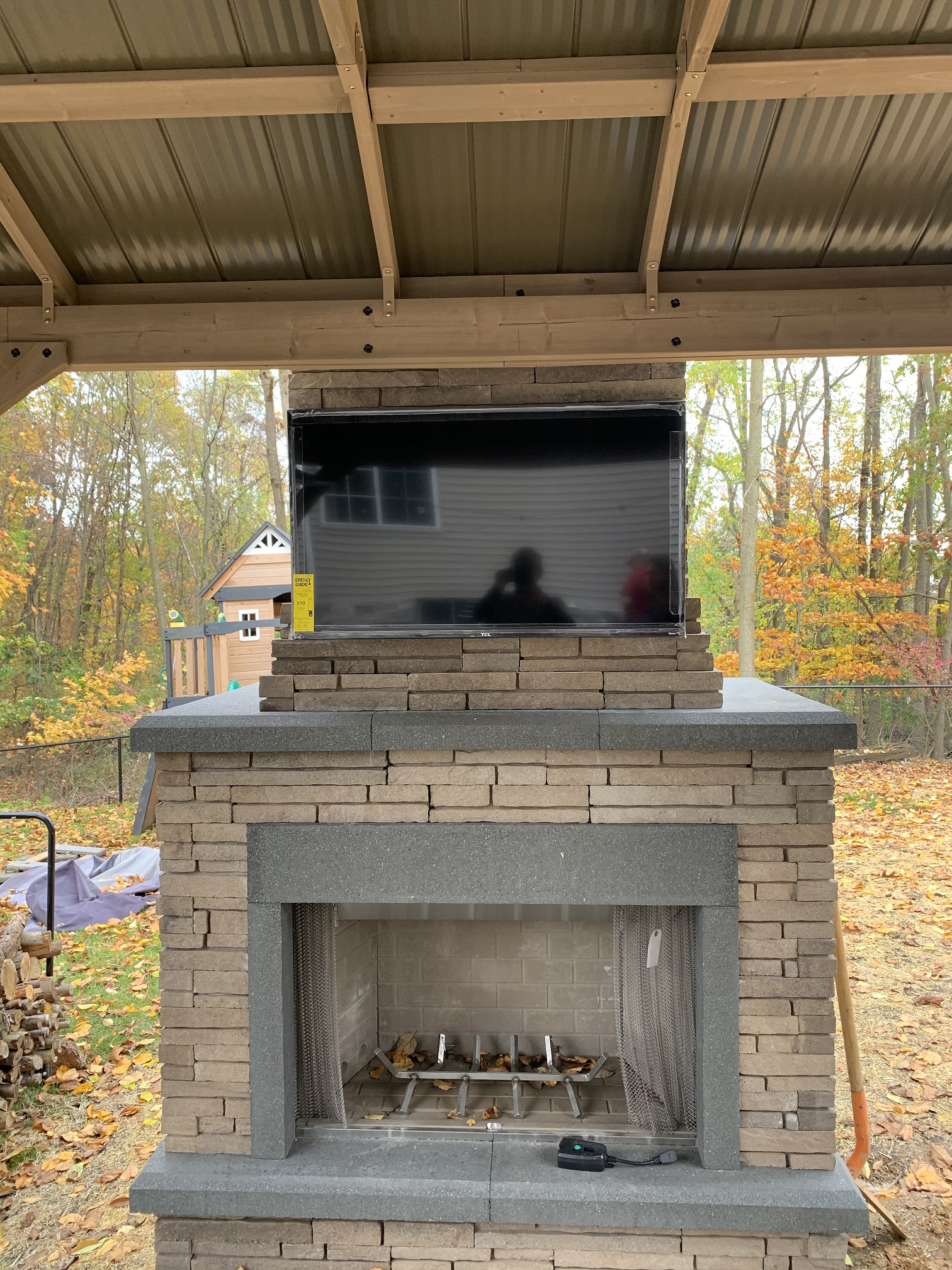 Outdoor Fireplace Install - Mendham NJ