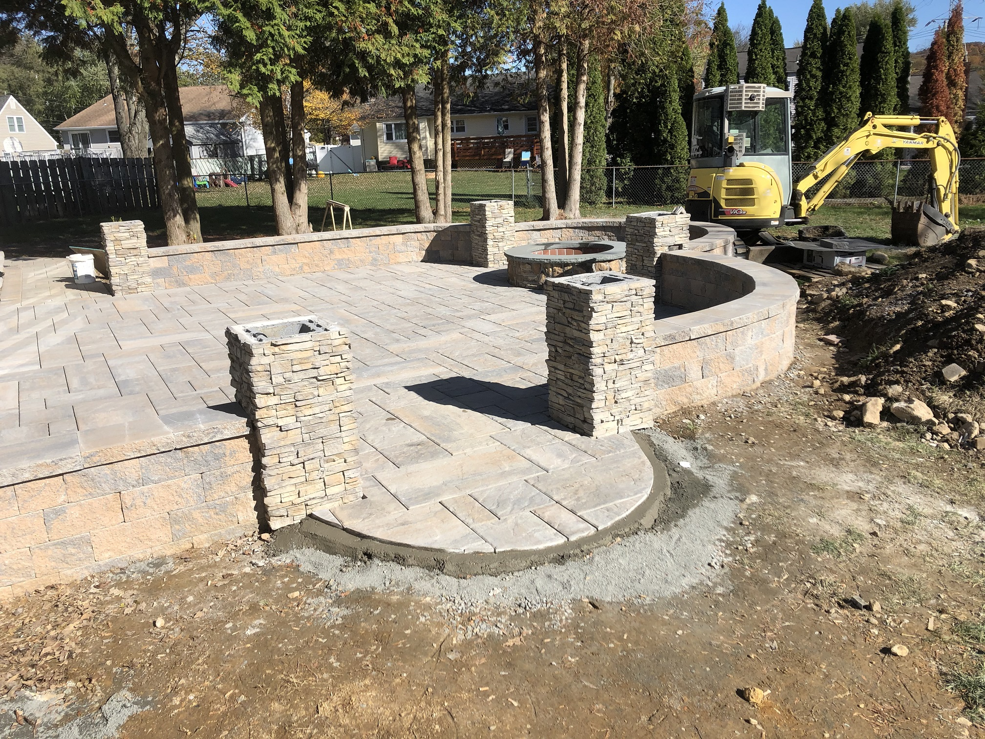 Outdoor living paver patio firepit and pillars – Mendham NJ