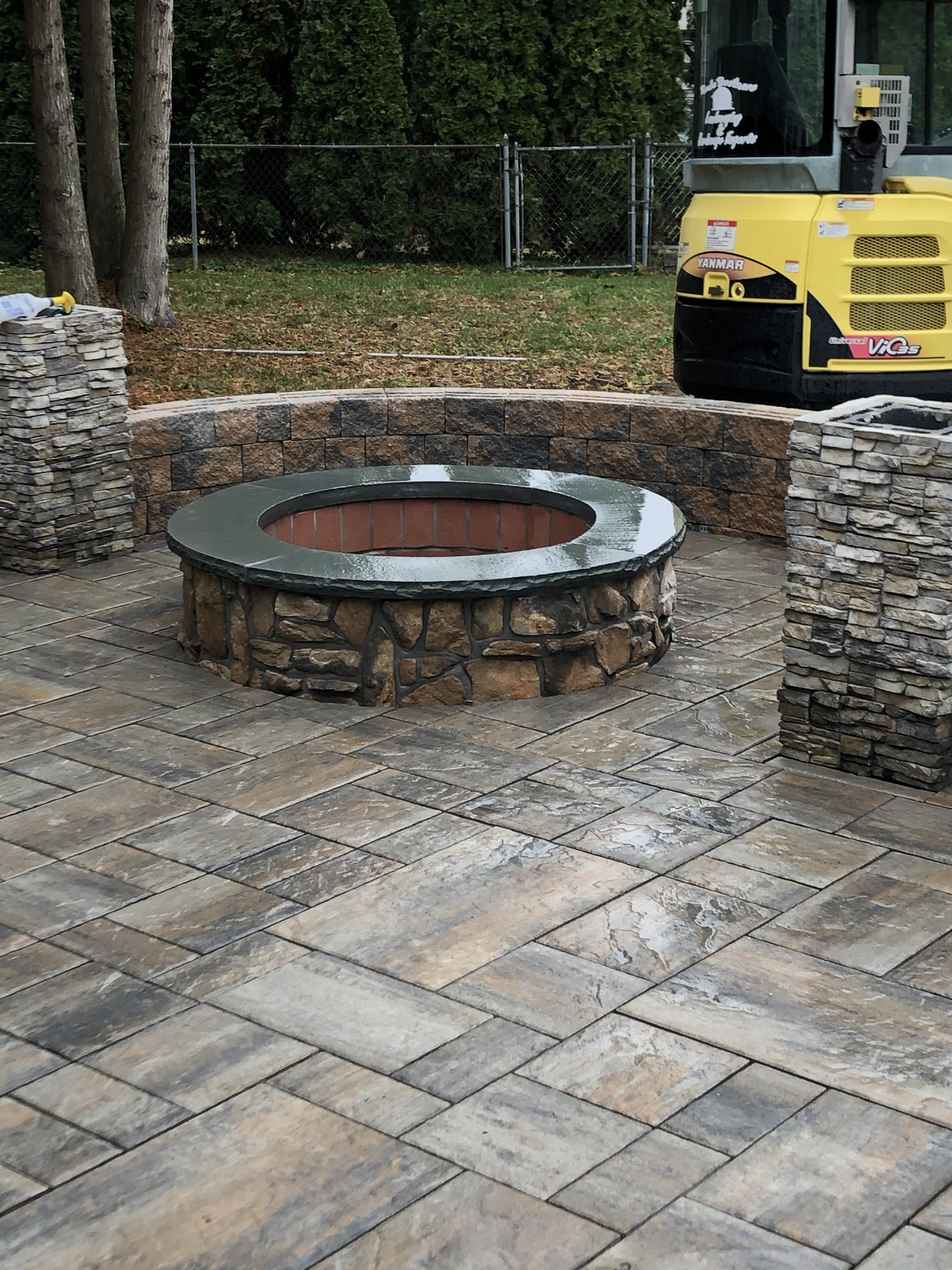 Outdoor firepit install – Far Hills NJ