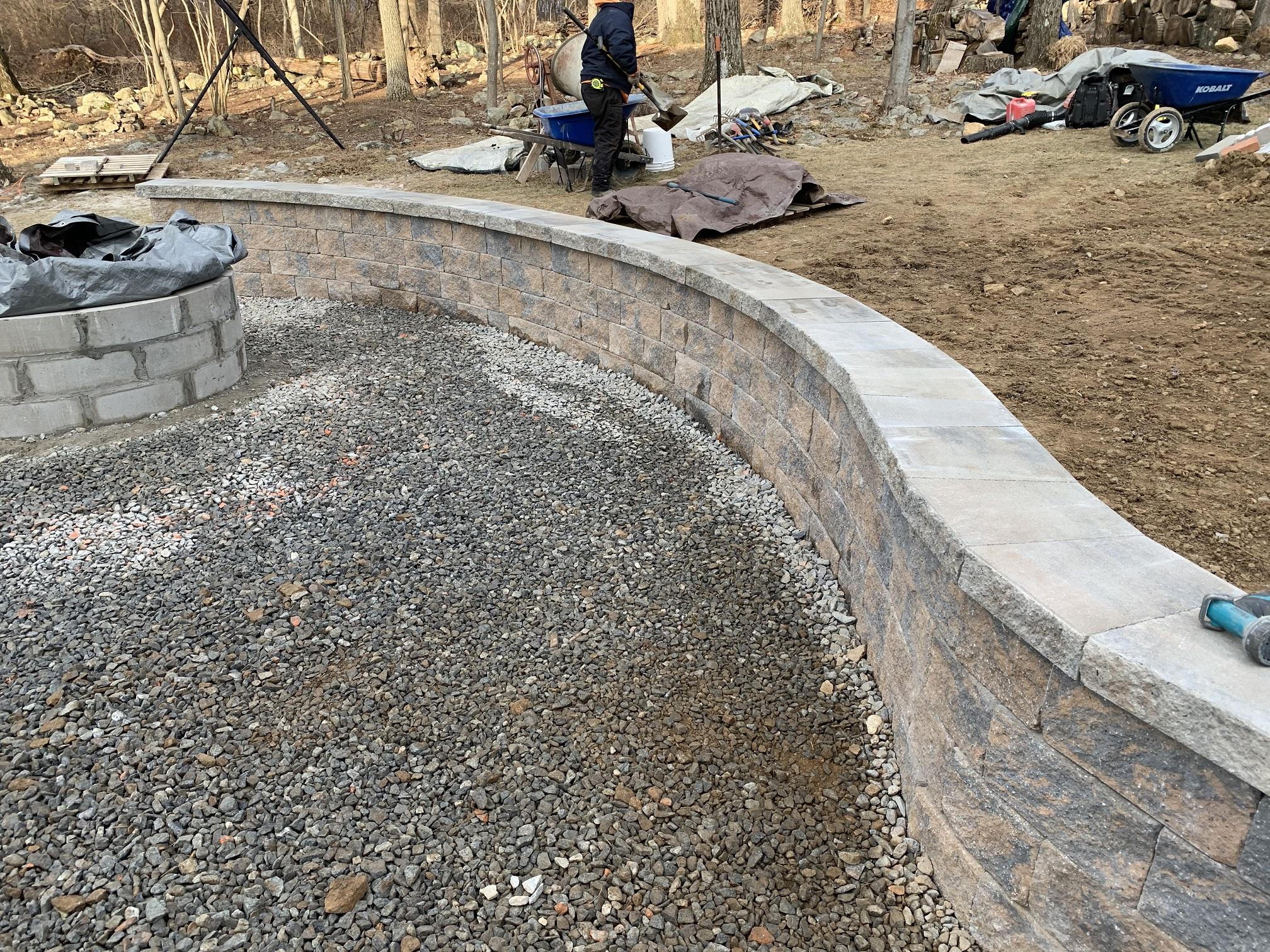 Retaining wall install - Mendham NJ