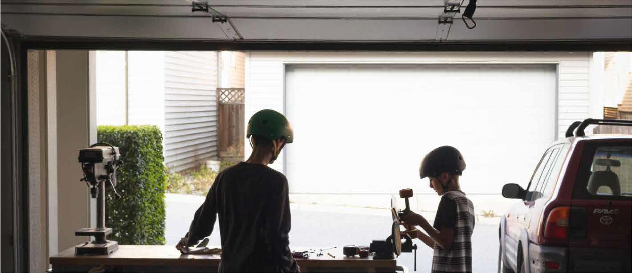 Garage Storage - Kids Fixing Skateboard