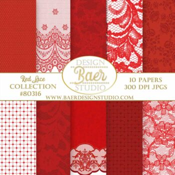 Red Lace Digital Paper