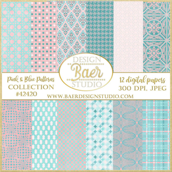 Pink And Blue Background Digital Pattern Paper Blue And Pink Digital Paper Baer Design Studio