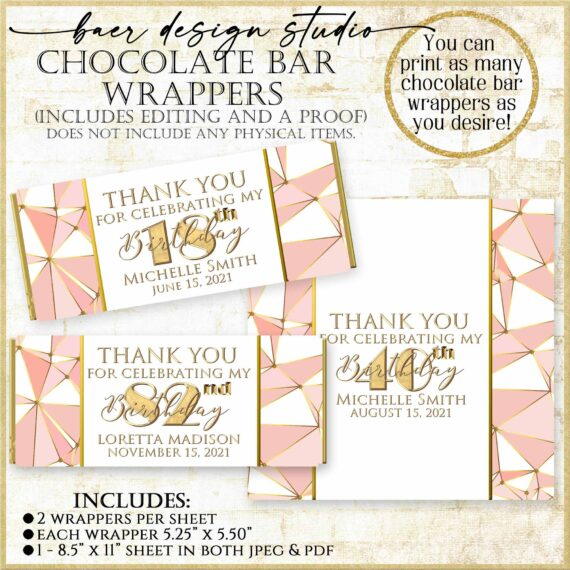 Rose Gold Hershey candy bar wrapper